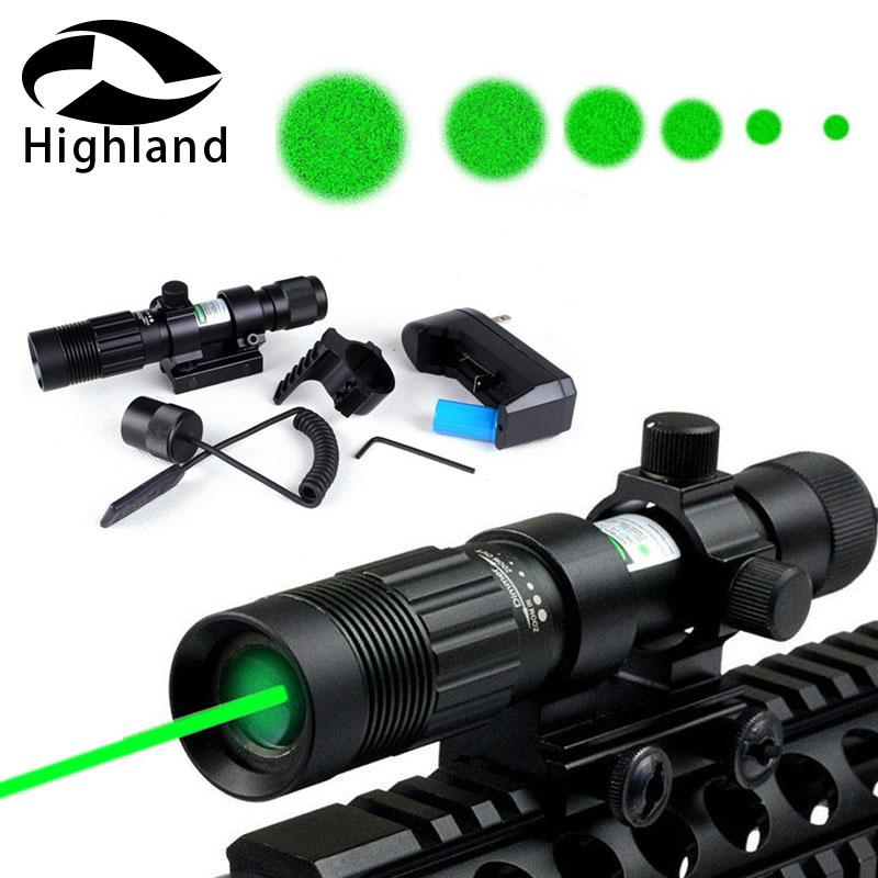 Tactical Hunting Adjustable Green Laser Sight Designator Flashlight Night Vision Illuminator Light w/Mount Base