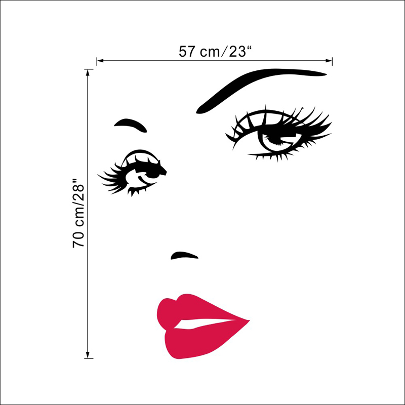Portrait Sexy Beauty Girl Lip Eye 3d Wall Sticker Decorative Vinyl