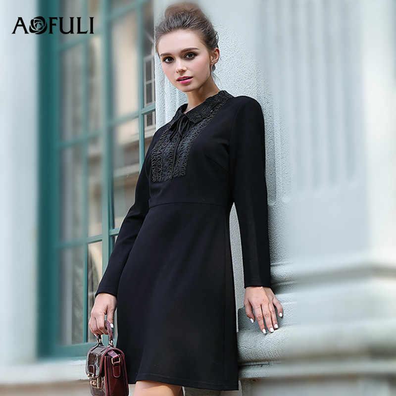 AOFULI Brand L- 3xl 4xl 5xl Plus size dress 2017 Winter Women Long sleeve  Beading 6416774325b7
