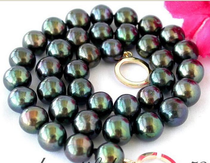 Free Shipping Hot sale >>17 12mm Tahitian black fw pearl necklace