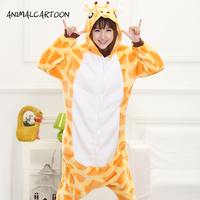 2016 Cute Autumn And Winter Cartoon Animals Giraffe Flannel Pajamas For Women Adult Long Sleeve Pajama