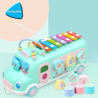 Children's bus knocking piano baby puzzle beat musical instrument toys infant early education eight tone piano factory direct