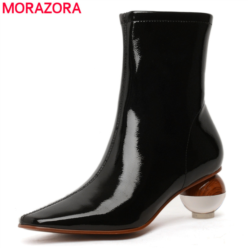 MORAZORA 2020 New Microfiber leather ankle boots women round high heels pointed zipper office ladies dress shoes women boots