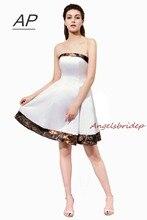 Женское платье ANGELSBRIDEP, белое/камуфляжное Платье До Колена из сатина для свадебной вечеринки
