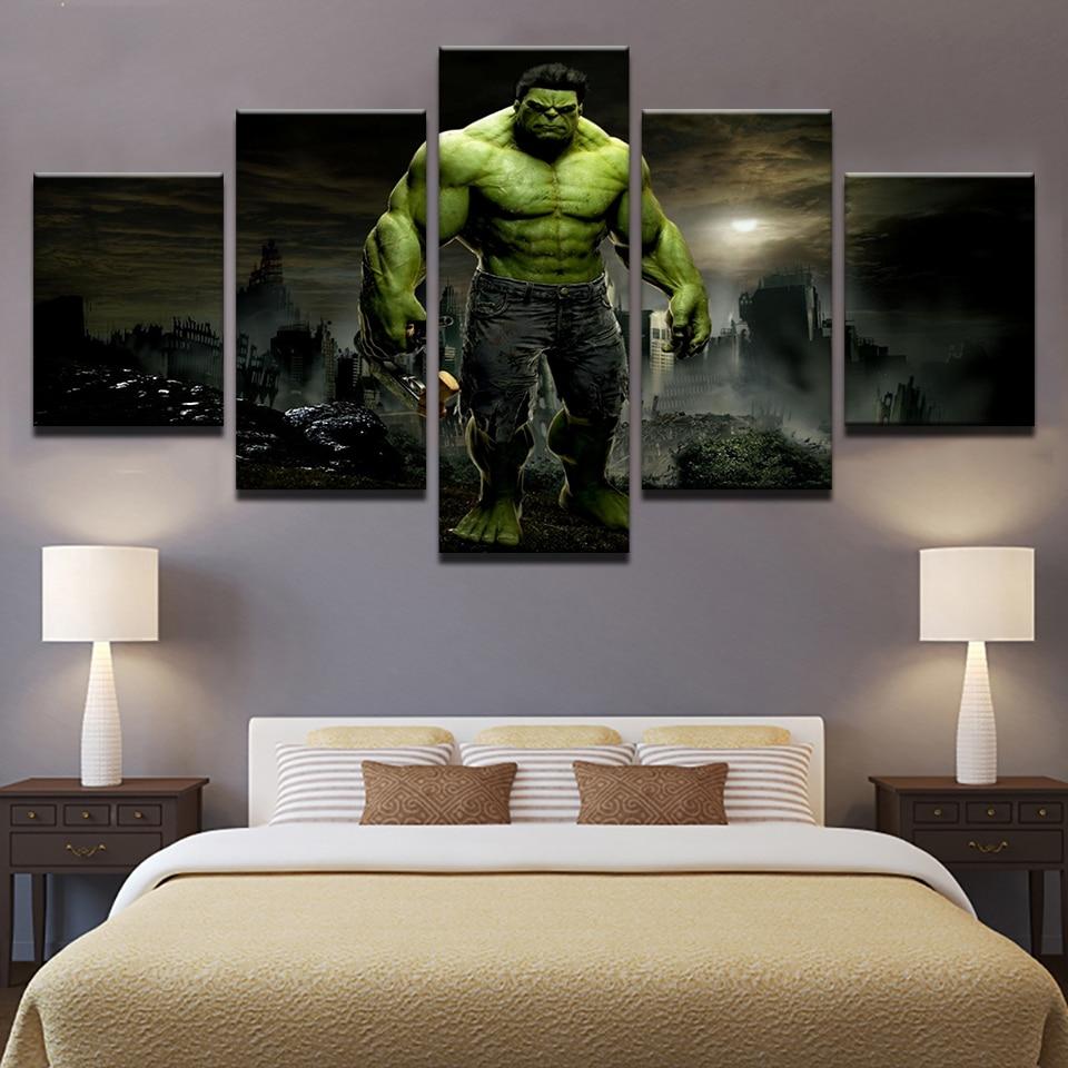 Leinwand Wohnzimmer | Hd Gedruckt Leinwand Modularen Bilder Rahmen Wand 5 Panel Film Hulk