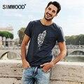 Simwood 2016 Homens Marca de Verão de manga Curta Magro Moda Casual O Pescoço T-shirt de Impressão Tops Tee Frete Grátis TD1005