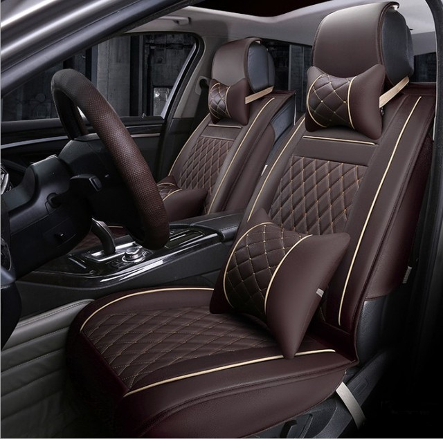Decorative Car Seat Covers Leather Cushion Cover Automobile Interior Accessories Protection Styling Universal Black