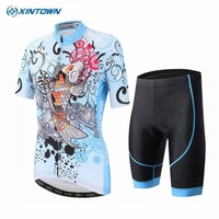 XINTOWN Women Cycling Jersey Blue Bike Team Cycling Clothing Short Sleeve Maillot Outdoor Sportswear Bicycle Jersey CC0221