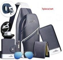 7 Unid/set Moda Casual Bolsas de Mensajero Funcional de Los Hombres Paquete Pecho Doble Auricular Jack Hinking Bolsa Crossbody