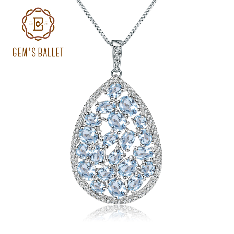 GEM S BALLET 6 74Ct Natural Sky Blue Topaz 925 Sterling Silver Classic Gemstone Pendant Necklace