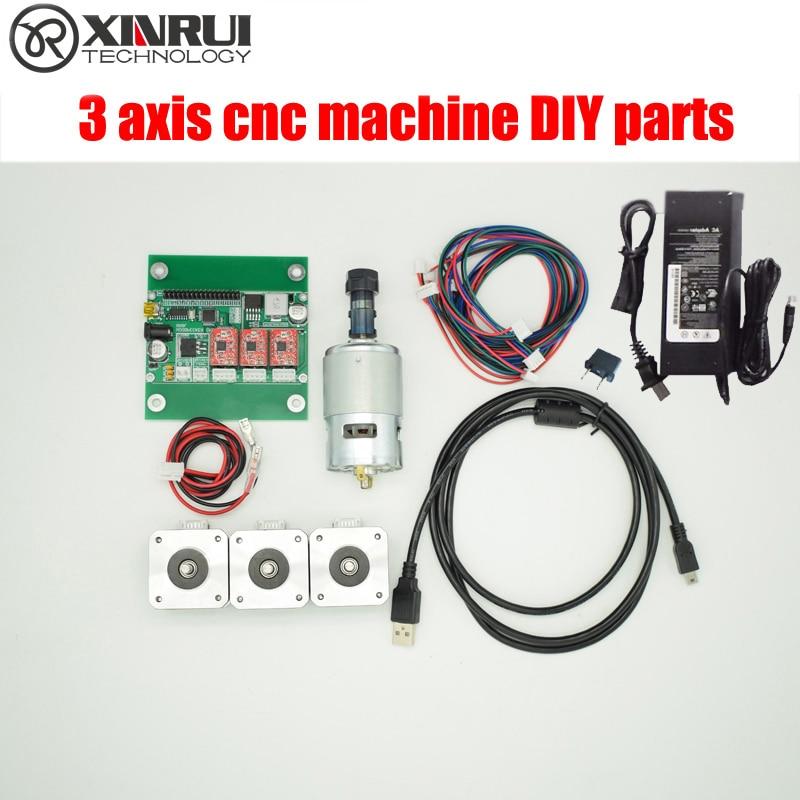 Diy 3 axis cnc machine parts,laser engraver control board,GRBL control board+3 pieces step motor+spindle+24v power supply