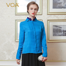 VOA Purple And Blue Joining Together Silk Jacquard Shirt Female Double Collar Long Sleeve Women Tops