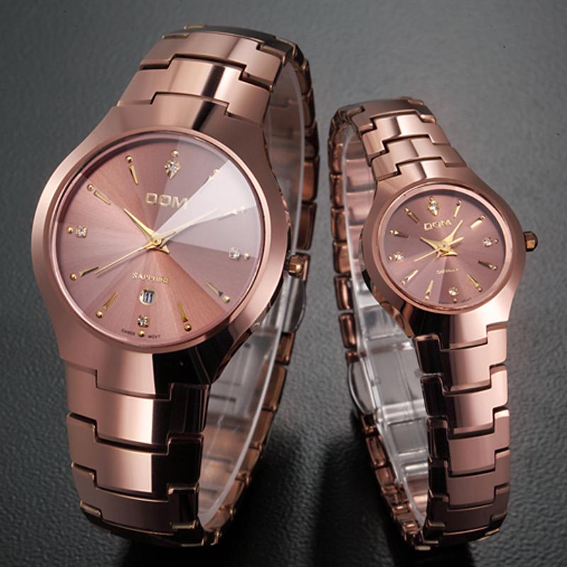 Prix pour Dom casual quartz montre amoureux d'acier de tungstène montre hommes marque de luxe femmes montre étanche montre à quartz relojes hombre