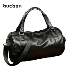 Bucbon Men Classic Soft Leather Fitness Gym Bag Black Brown Cylindrical Leather Duffel Bag Shoulder Travel & Sports Bag HAB018