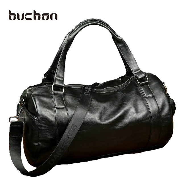 Bucbon Men Classic Soft Leather Fitness Gym Bag Black Brown Cylindrical  Leather Duffel Bag Shoulder Travel