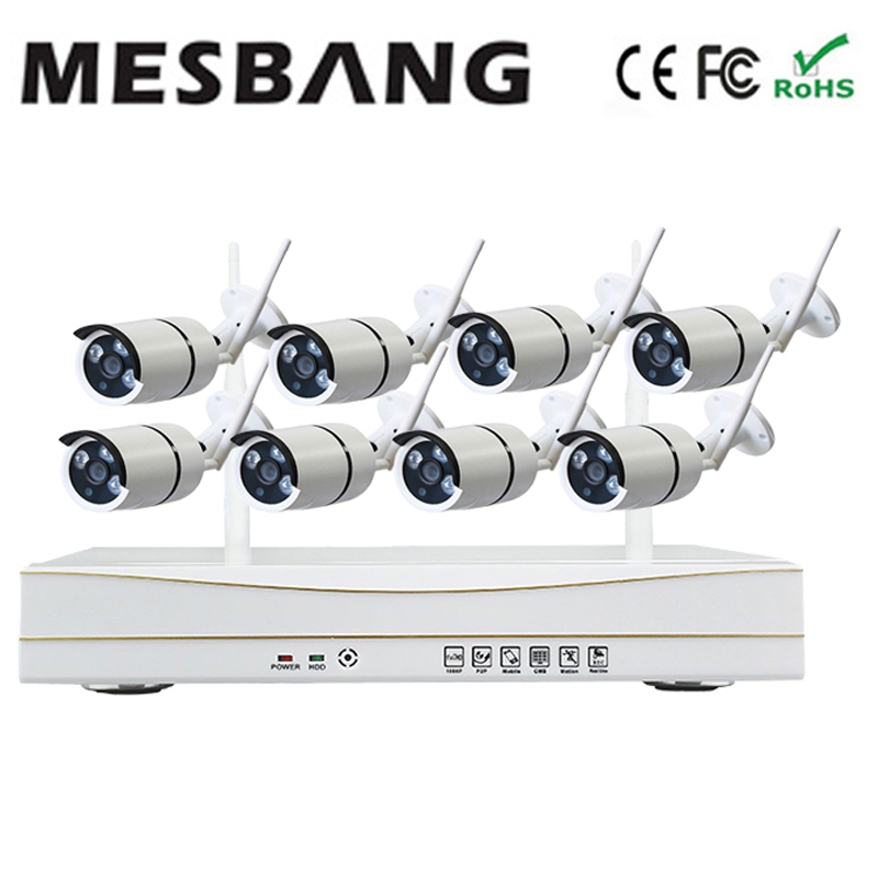 Mesbang 720P 8ch IP CCTV camera system wireless no need cable easy to install nvr kit delivery by DHL Fedex free shipping mesbang 720p 4ch wireless ip camera nvr kit one key to set up easy installation free shipping fast