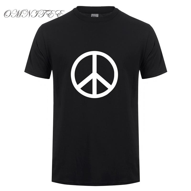New Printed Peace Symbol Men T Shirt Summer Short Sleeve Cotton O-neck Fashion Cool Peace Men T-shirts TopOT-535