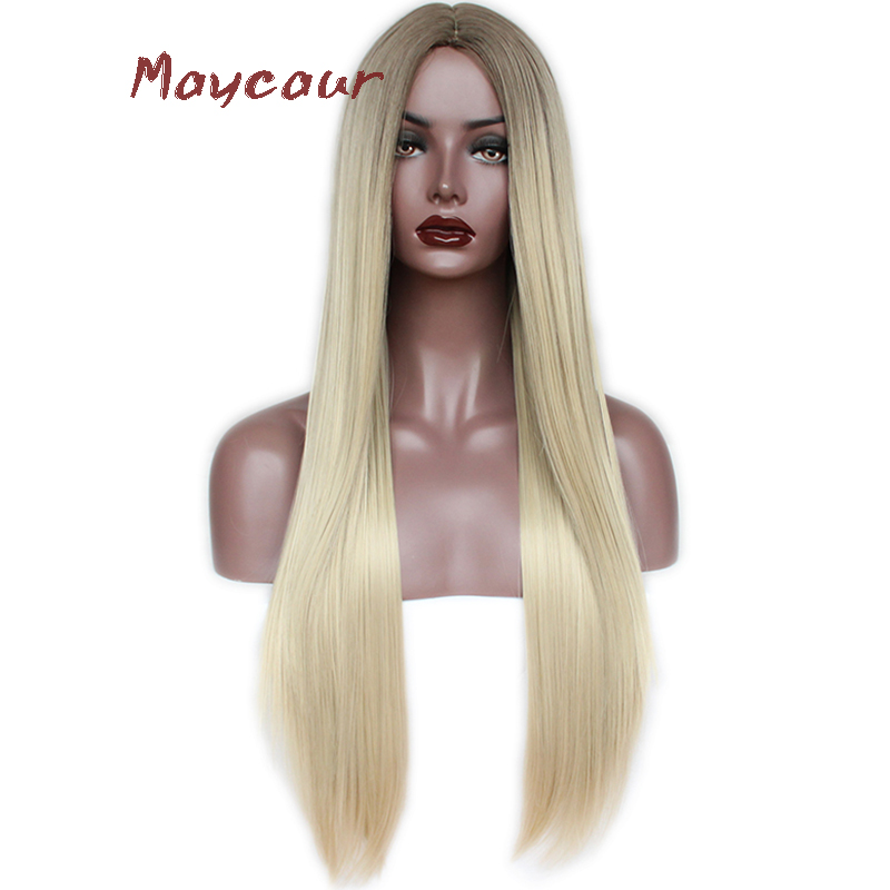Maycaur Ombre Blonde Color Long Straight Synthetic Hair Wig Heat Resistant Fiber Soft Wigs For Black Women