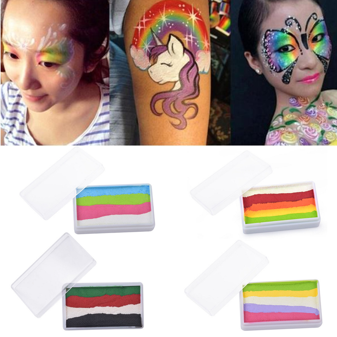 Rainbow Body Paint Halloween Face Painting Makeup Pigment 30g/piece Multicolor Series Temporary Body Art Tattoo Split Cakes