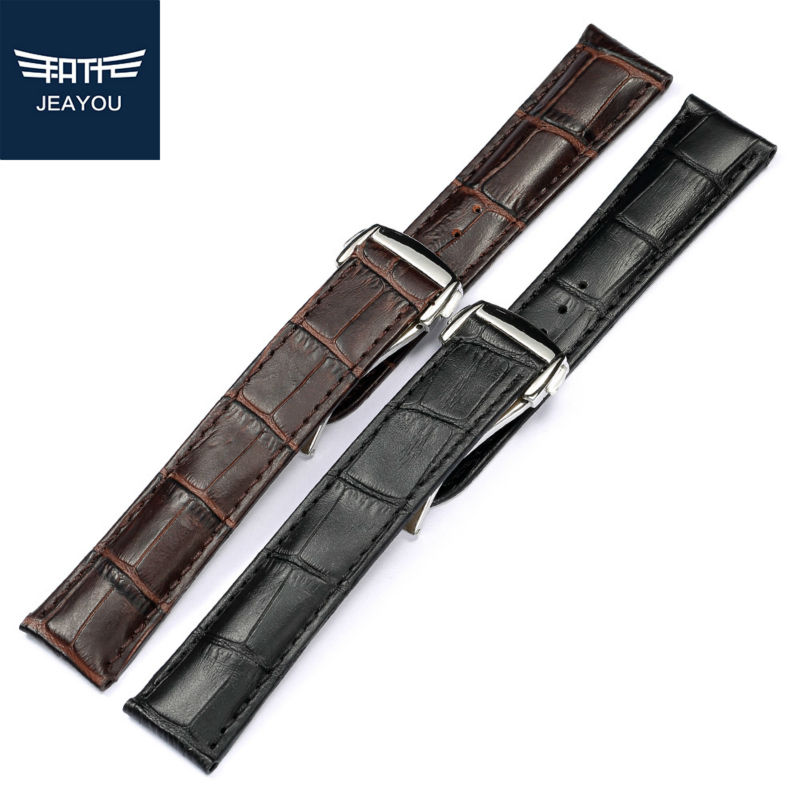 JEAYOU Men Genuine Leather Watch Strap Watch Band Only For Omega De Ville/Aqua Terra/Speedmaster 19/20mm Brown/Black WatchBands suunto elementum terra n brown leather