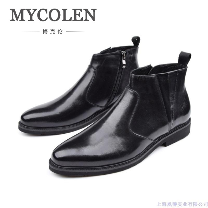 MYCOLEN 2018 Brand Quality Genuine Leather Winter Boots Men Shoes Casual Handmade Round Toe Zip Chelsea Boots Russian Size mycolen brand quality genuine leather winter boots comfortable black men shoes men casual handmade round toe zip wear boots