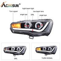 AcooSun Автомобиль Стайлинг для Mitsubishi Lancer 2008 2017 светодиодный Автомобильная фара в сборе DRL Включите сигнальный проектор Объектив H7 H1 Plug & Play