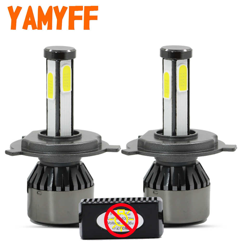 YAMYFF Canbus Car Headlight H4 LED Bulb D1S D2S D3S D4S LED Lamp 6000K Light Bulb Auto Fog Lights 4 Side 8000LM Automobiles 12V