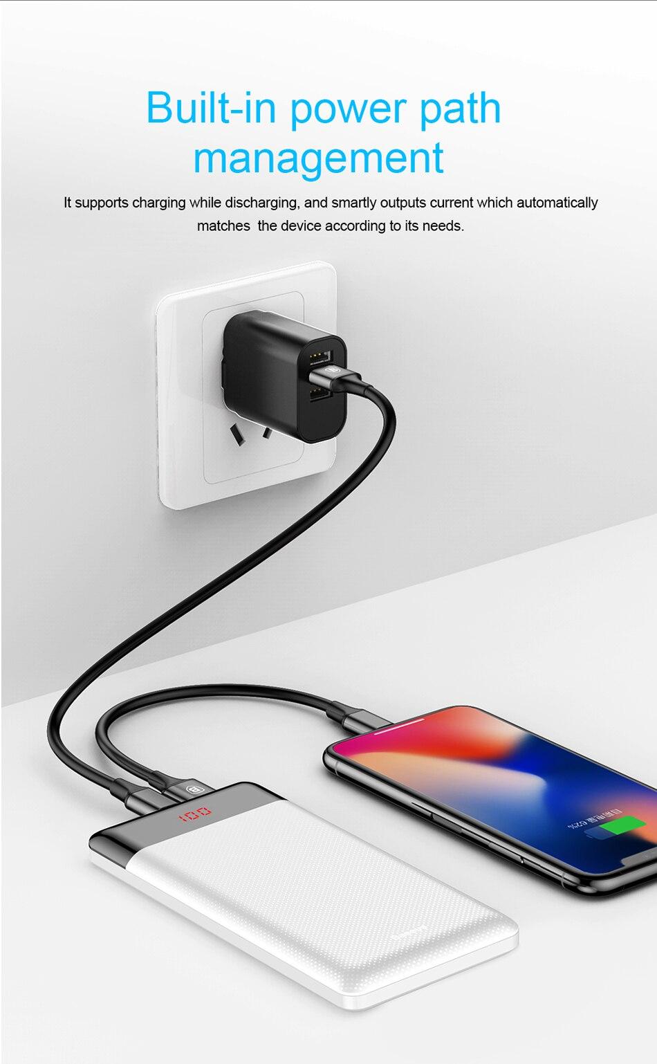Baseus 10000mAh Power Bank przenośna ładowarka do Xiao mi mi 9 iPhone 9