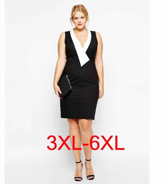 55bc11f45ea plus size 5xl 6xl sexy ladies dress female dresses OL lady european bodycon  v neck mini one piece large big size xxxxl vestido