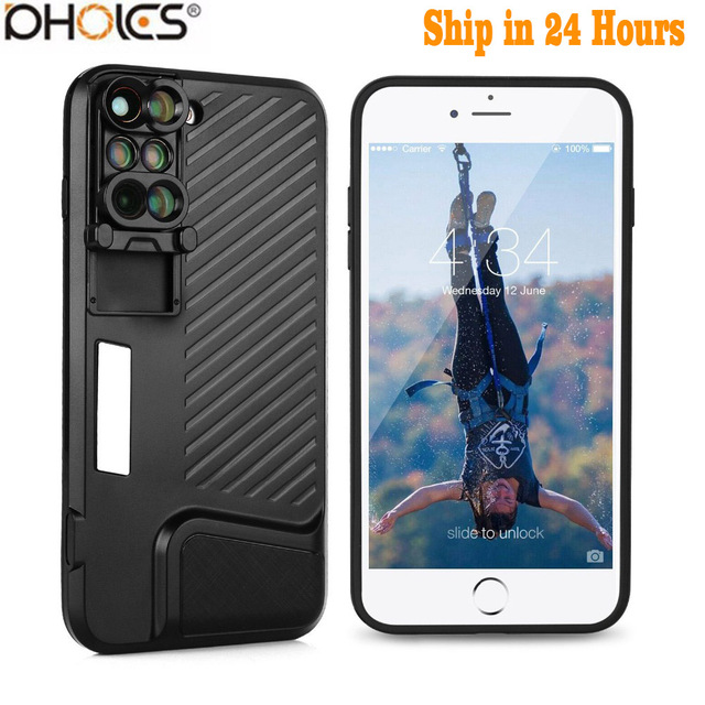 8 Plus Dual Camera Lens For Apple iPhone X 8 Plus Telescope Lens Fisheye Wide Angle Macro Lens For iPhone 7 Plus Black