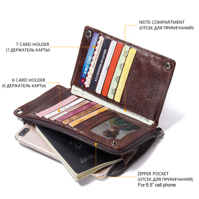 CONTACT'S Men's Wallet Genuine Leather Clutch Man Walet Brand Luxury Male Purse Long Wallets Zip Coin Purse  6.5 3