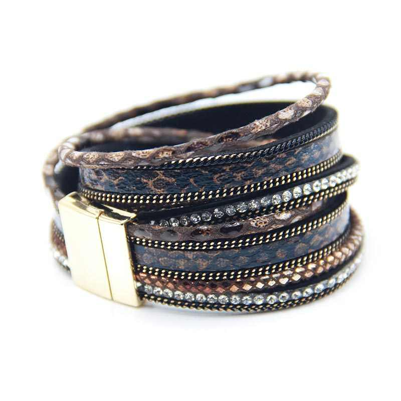2019 Fashion 3 Layer Wrap Bracelets Leather Megnetic Bracelets With Crystals Couple Jewelry Christmas Gift