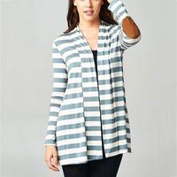 Autumn Women Striped Elbow Patch Splicing Cardigan 2017 Fashion Long Clothing Open Stitch Long Sleeve All
