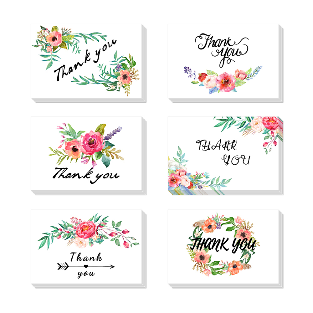 36pcs 3D pop up Thank You postcards gifts Floral Flower Greeting Cards Notes Festival handmade for Wedding, Baby Shower