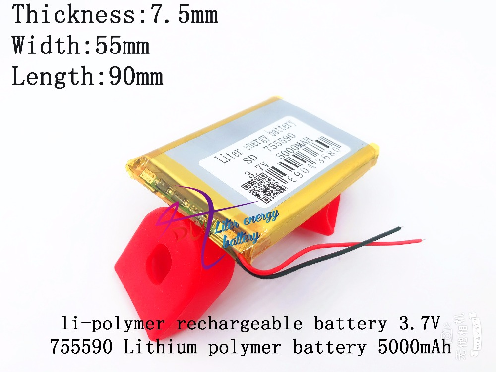 1pcs 3.7v 5000mah Lithium Polymer Lipo Rechargeable Battery Cells For Power Bank Mobile Phone Pad Protable Tablet Pc 755590 Skilful Manufacture