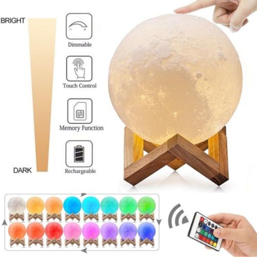 Hanging 3D Moon Lamp LED Night Light Table Desk USB Moonlight Wood Stand Gift