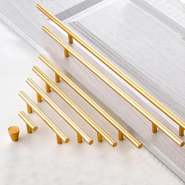Large Handle Modern Minimalist Kitchen Furniture Cabinet Drawer Pull, Gold Aluminum Wardrobe Bedside Cabinet Locker Knob