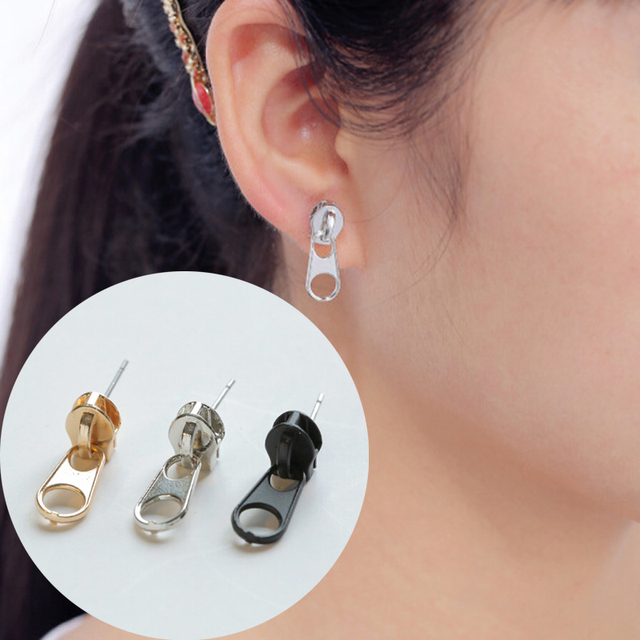 1Pair Women Mujer Funny Unisex Studs Earrings Pendientes Ear Jewelry Fashion Earrings Zipper Cute Punk