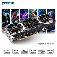 Yeston Radeon RX 580 GPU 4GB GDDR5 256 bit Gaming Desktop computer PC Video Graphics Cards support DVI/HDMI PCI-E X16 3.0