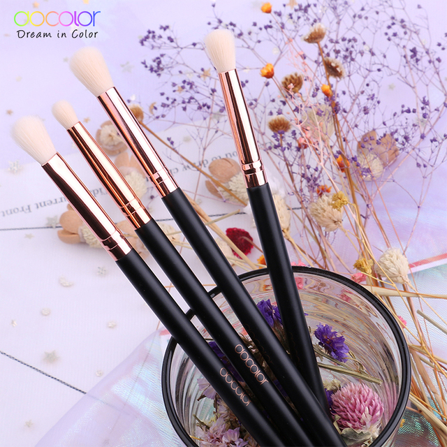Docolor Makeup Brushes 4PCS Eyeshadow Brush Blending Eyebrow Make Up Brushes Synthetic Bristles Beauty Cosmetics Brush Set 1