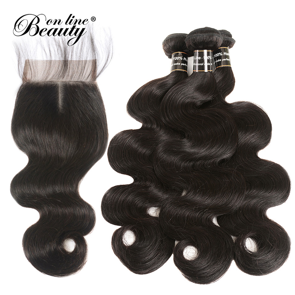 Beauty On Line 100% Human Hair Bundles With Closure 3 Bundles Peruvian Body Wave Hair Weaving Natural Black Remy Hair Extensions