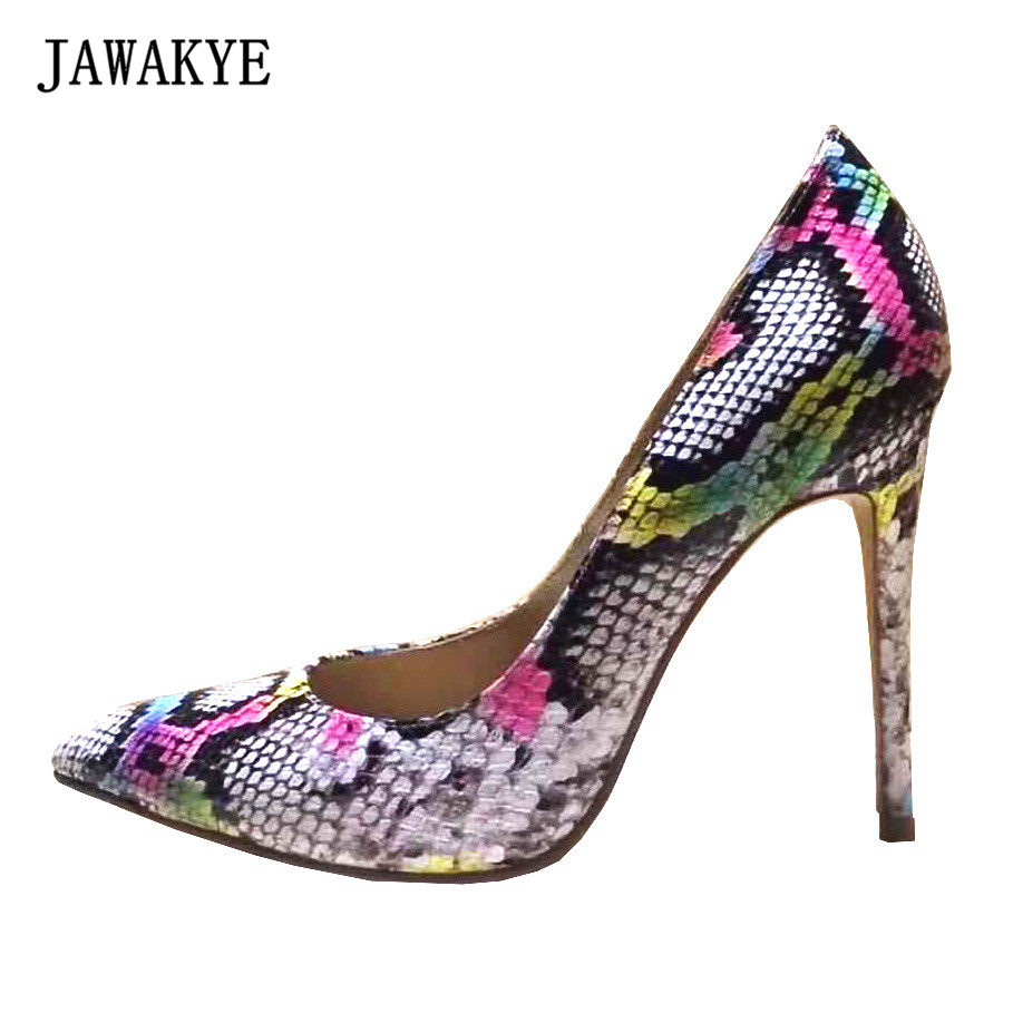 JAWAKYE 2018 newest Women Shoes colorful color Snake Printed High Heels Top qulaity Pointed Toe ladies Pumps chaussure femme
