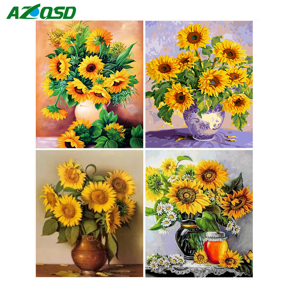 Diamond Embroidery Sunflowers 5D DIY Kit Needlework Diamond Painting Full Square Cross S ...