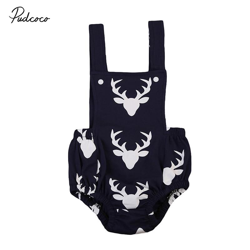 0-18 Mt Neugeborenen Deer Kleidung Sleeveless Zurück Kreuz Infant Junge Strampler Overall Overall Outfits Sunsuit Kinder Kleidung