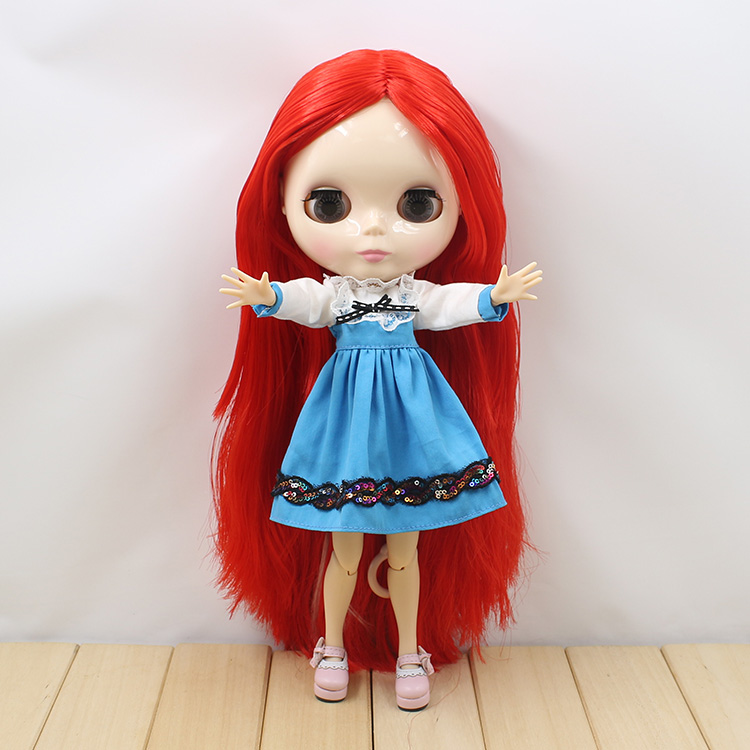 Bjd doll 12 fashion B female long red hair Nude Blyth doll with joint body blyth dolls diy toys nude princess blyth doll bjd 1 6 big eyes b female long brown hair with bangs pink cheek and lip diy bjd dolls for sale