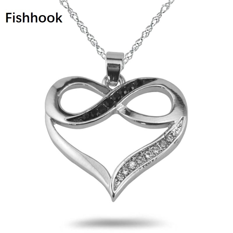 Fishhook Brand Fashion Water Wave Ripple Chain Black And White Crystal Stones Infinity Heart Metal Jewelry Necklace For Women