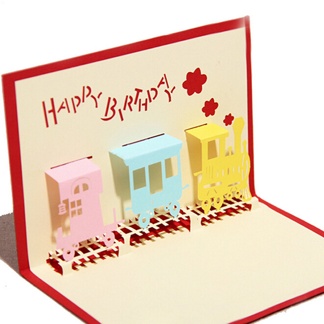 10 pieceslotfree shipping happy birthday greeting card 3d pop up train - Happy Birthday Gift Card
