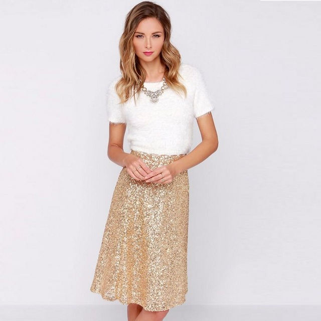 56628afb0d6 Gold Color Sequins Knee Length Skirts For Fashion Women Skirt Summer Style Size  Color Free Custom Made Women Clothing