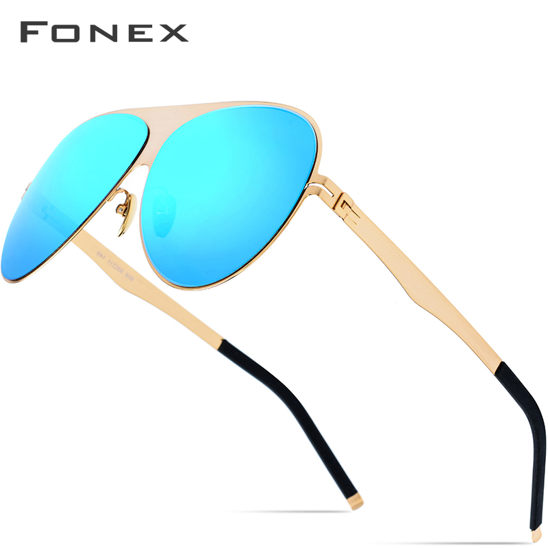 FONEX Aviation Polarized Sunglasses Men 2019 High Quality Brand Designer Big Oversize Screwless Eyewear Sun Glasses