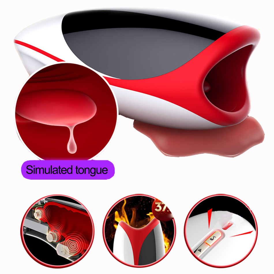 Oral Male Masturbator Simulating Sucking Tongue Licking Sex Tool Smart Heating Voice Interaction Sex Toys For Adult